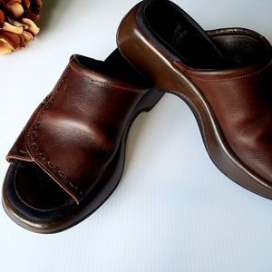 Dansko Brown Open Toe Sandle Slide 38/7.5-8